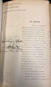 Taani välisministri tunnustamiskiri kuningale esitamiseks 3. ja 4. veebruar 1921