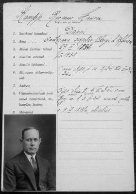 Rasmus H. Kamppi diplomaatilise passi taotlus. Foto: Rahvusarhiiv
