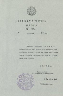 1936 Laretei nimetamine saadikuks. Foto: Rahvusarhiiv