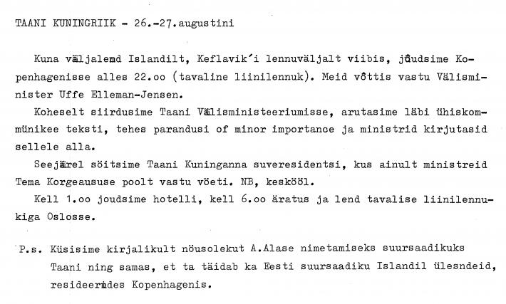 1991 Lindpere memo. Foto: välisministeeriumi arhiiv