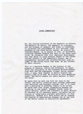 Ühiskommünikee 26.08.1991. Foto: välisministeeriumi arhiiv