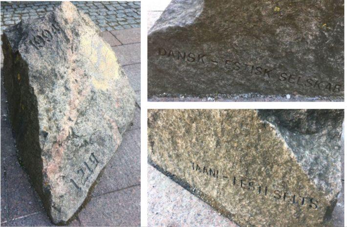 Taani-Eesti Seltsi eestvõttel paigaldati Tallinnasse Taani Kuninga aeda Bornholmi graniidist valmistatud mälestuskivi Dannebrogi legendi 775. aastapäeva tähistamiseks 1994. aasta 15. juunil. Foto: Taani saatkond Tallinnas